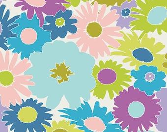 Art Gallery Fabrics, Flower Fabric, Purple Flowers, Lime Green Flower, Retro Fabric, Cotton Fabric By The Yard, Fat Quarter, 1 Yard Fabric