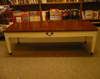Painted Coffee Table on Casters