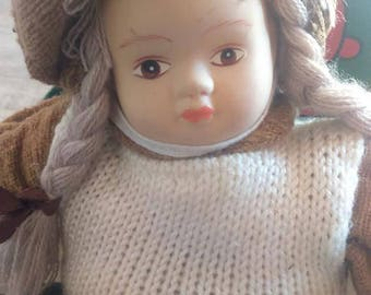 Doll Vintage Doll Ceramic or Porcelain Head Doll Sand Body Doll Old Doll Handpainted Face