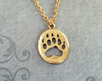 Bear Claw Necklace Spirit Animal Hunting Gift for Hunter Paw Print Pendant Native American Jewelry Bear Jewelry Boyfriend Charm Necklace