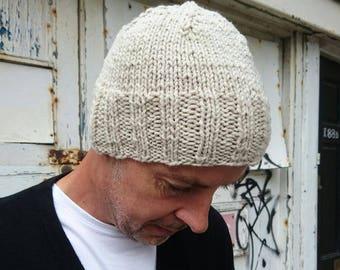 Oatmeal Merino Wool Beanie Hat