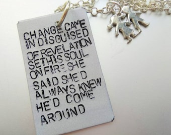 The Killers, Brandon Flowers, Dustland Fairytales, change came in disguised of revelation set is soul on fire, Handstamped  Necklace
