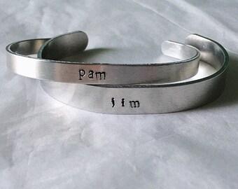 Jim & Pam Stamped Bracelets • Jim and Pam Bracelets • The Office Inspired Bracelet • Couples Bracelet • Valentine's Day Gift