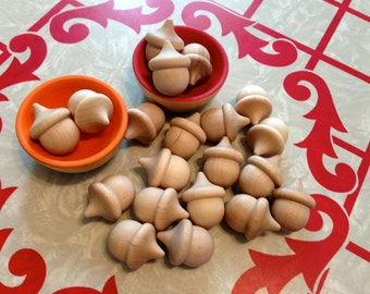 20 Wooden Acorns Unfinished or with Natural Beeswax Finish
