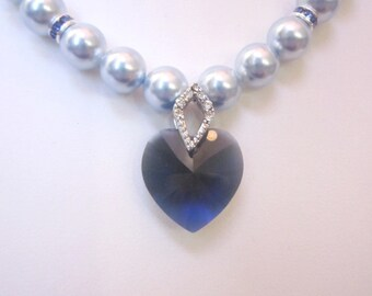 Swarovski Pearl and Crystal Necklace - Light Blue Swarovski Pearls and 18mm Dark Blue Heart - Weddings, Brides, Bridesmaids, Proms, SRAJD
