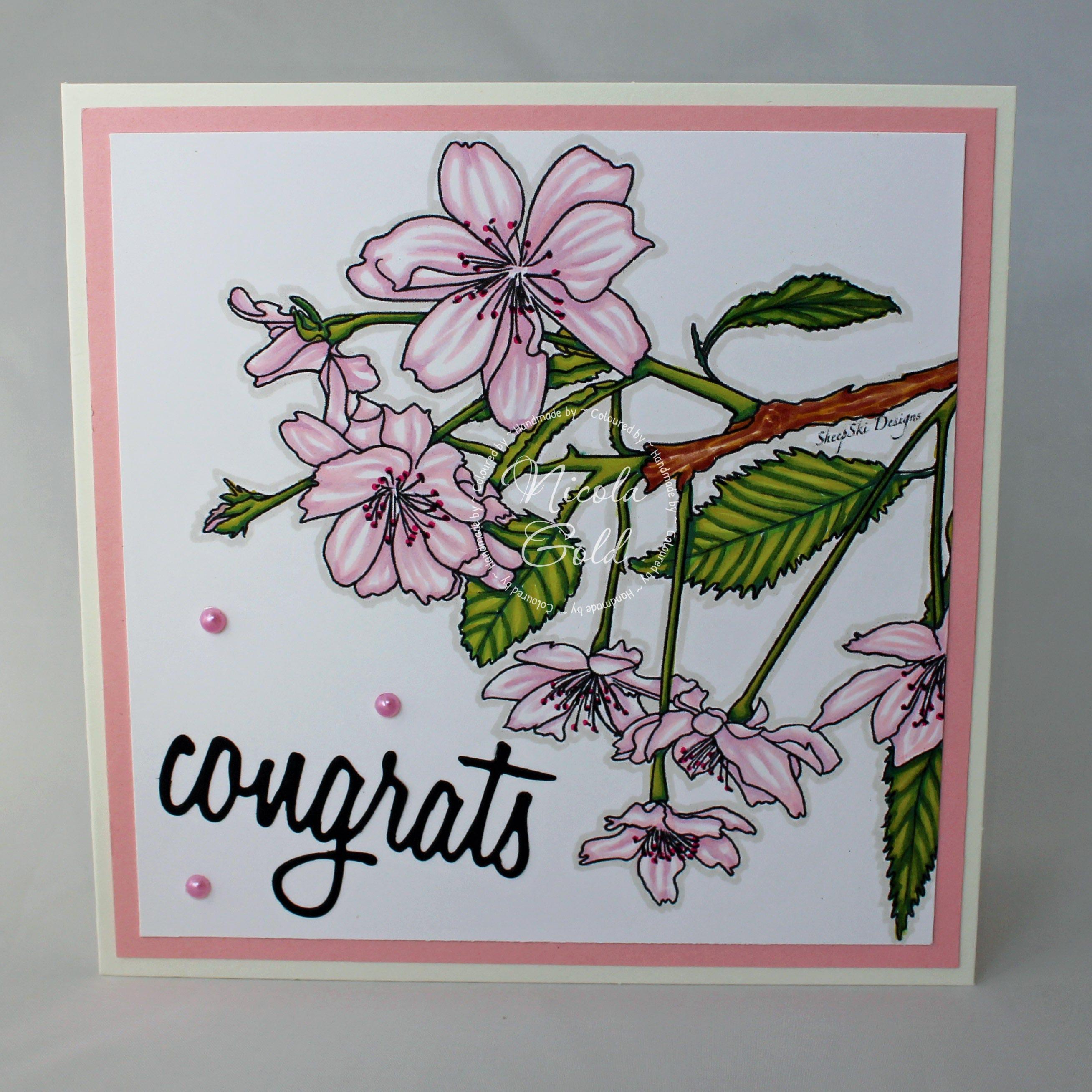 Congrats card cherry blossom card floral card wedding description handmade congrats card kristyandbryce Choice Image