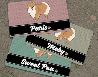 Personalized POMERANIAN Placemat - DOG BREED Themed Placemat - Dog Mat - Pet Food Mat - Rubber Placemat