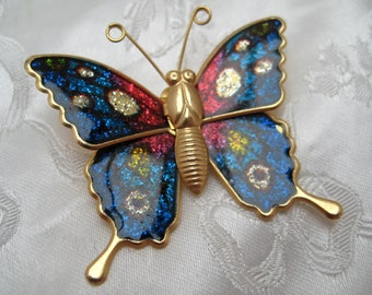 Vintage 1960s Goldtone & Enamel Tropical Butterfly Brooch Psychedelic Colours