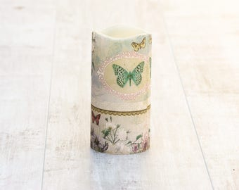 Decorative Flameless Candle with Butterfly Design, Table Decor, Gift for Mother, Gift for Grandmother, Butterfly Gift, Flameless Candle