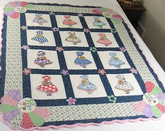 Sunbonnet Sue Quilt, Vintage Fabric, Needlework, Recycled to Crib Quilt, Wall Quilt, Quilt Throw