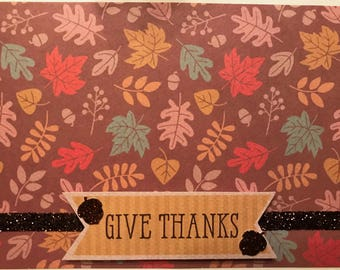 Thanksgiving Card - Give Thanks - Handmade