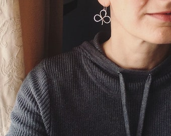 Silver Clover Leaf Shamrock earrings Sunshine On Water
