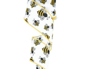 """2.5"""" wide 5 yards of Adorable White Bumble Bee Inspired Wired Edge polyester Ribbon......for crafts, Florals"""