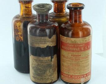 """Antique 4 Piece Lot of  1930s Pharmacy Poison Medicine Bottles Park & Davis Detroit, MI - All 4 7/8"""" Tall No Corks"""