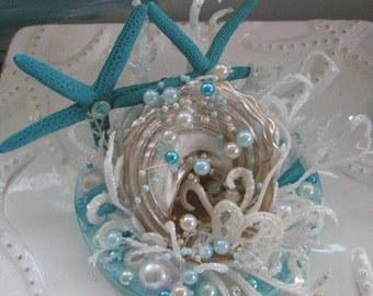 Seashell Wedding Cake Topper~Starfish Beach Wedding Cake Topper