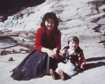 Korean War Bride - 1950's Pretty Korean Woman and Child Color Snapshot Photo - Free Shipping