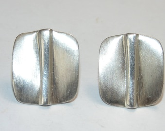 """SE701 Artisan Sterling Silver Modernist Square Satin Polished Piercing Earrings 5 grams 0.5"""" Wide Jewelry Jewellery 925 For Her"""