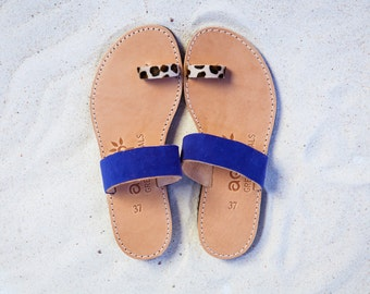 ARISTOCRATIC SANDALS/handmade sandals/ancient greek sandals/animal print pony skin/blue