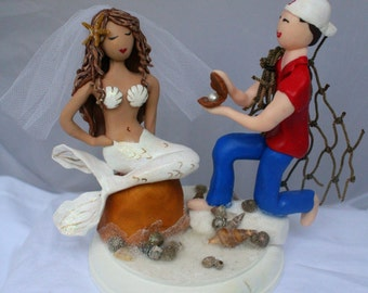 Mermaid and Wedding Cake Topper CUSTOMIZED to your features Hand Sculpted in Clay
