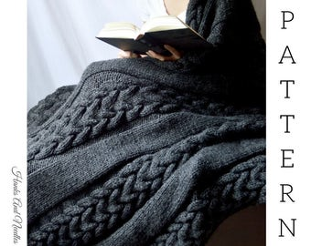 Austin Double Braid Cable Knit Throw Blanket Chunky Knit PDF Download Knitted Afghan Knit Patten Throw Blanket Bulky Knit