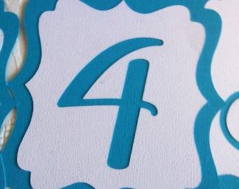 SET of Wedding-Birthday-Baby Shower Table Number Cards , Turquoise/White bracket design