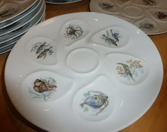 12 Oyster Plates Limoges, French, Excellent Condition.
