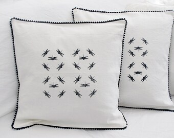 Dragonflies Pillow cover , Cushion cover in French antique  linen,white ivory, Hand screen printed euro sham 16 x 16 , black and white