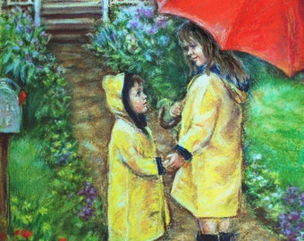 """PERSONALIZED Brother sister yellow Raincoat  kids Wall art Nursery siblings Canvas or paper """"Time To Come Home"""" Laurie Shanholtzer"""