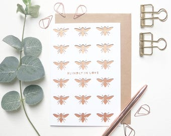 Blindly in love card, Funny anniversary card, Cute anniversary card, I love you card, card for husband, card for girlfriend, Bee lover card