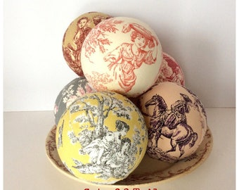 Set of 6 DIY French Toile Upholstered Craft Ball Christmas Ornament Multi