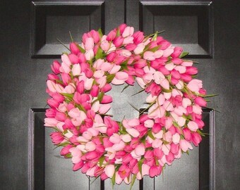 SPRING WREATH SALE Spring Wreath- Pink Mini Tulip Spring Wreath- Front Door Wreath for Spring