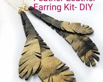 Feather Leather Earring DIY Kit,Gold,Handmade,Vintage,Repurposed,Jewelry,Women,Gift,Birthday,Christmas,Holiday,Present,Black,Craft,Crafting