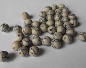 Stones Netstone beads 6 mm grey pearls, jewelry supplies