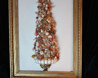 Jewelry Christmas Tree, Golden Orange Glow