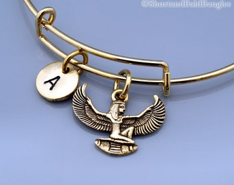 Isis bangle, Egyptian goddess Isis, Gold Isis, Winged Isis, Egyptian theme, Aset, Iset, Expandable bangle, Charm bangle, Initial bracelet