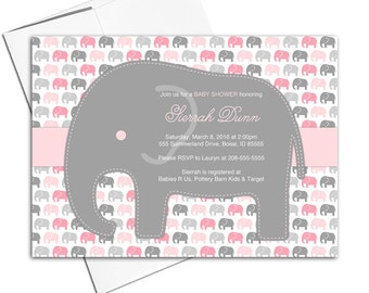 elephant baby shower invitations girl | gray and pink baby shower invite with elephants | printable or printed - WLP00735