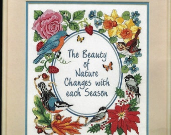 """Dimensions No Count Cross Stitch Kit #3961 Beauty of Nature 12"""" x 14"""" Birds Flowers"""