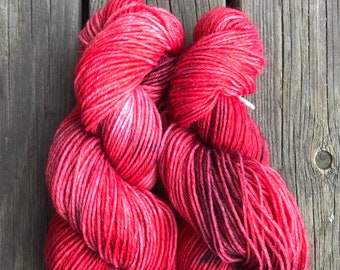 Under the roses, hand dyed yarn, 80/20 wool/nylon, light sport weight, sock yarn