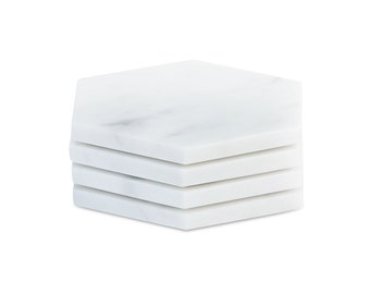 4 DIY Marble Hexagon Coasters Make your our set of White Carrara Marble Coasters - Set of 4