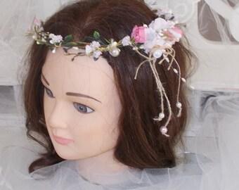 rustic vintage cottage chic flower Crown headband