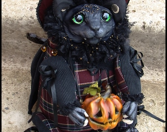 Cat Witch! fantasy creature art doll cat gift toy ooak doll cat halloween pump magic toy animal creepy cute black cat