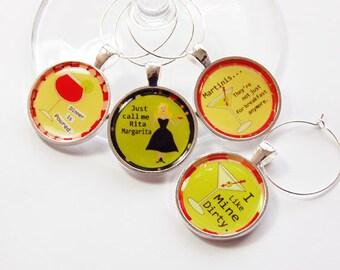 Funny Wine Charms, Wine Charms, Wine Glass Charms, silver plate, barware, entertaining, table setting, humor, yellow, green (2712)