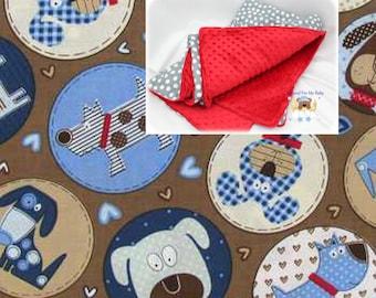Dog Paws Cotton Minky Blanket Boy Girl Bones Dogs Crib Bedding Blanket Puppy Toddler Crib Lap Twin Full Queen Blanket Comforter