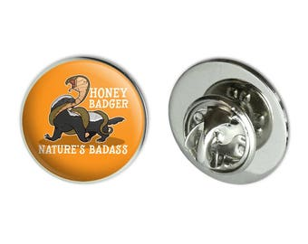"""Honey badger nature's badass metal 0.75"""" lapel hat pin tie tack pinback"""