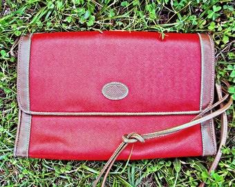 VTG- Classic, Vintage, 1980s, Lipstick Red, Printed logo, Crossbody handbag by Liz Claiborne, Shoulder Bag with Brown Leather Trim, 80s