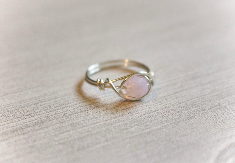 Ring Draht Draht gewickelt Ring rosa Stein-Ring Rosenquarz