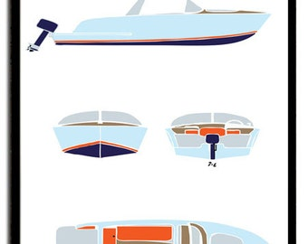 Old Pick Up Speedboat Motor Boat Launch Elevation Plan for Boys and Preteens Speedboat poster print