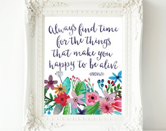 Printable Wall Art, Always find time quote, Wall decor, Printable Quote, Motivational print, quote artwork