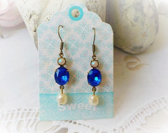 Earrings Victorian blue Sapphire and Pearl ivory