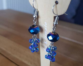 Blue and Purple glass bead cluster dangle earrings
